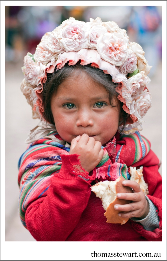 young peruvian girl with cute hat